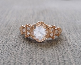 """Antique Diamond White Sapphire Engagement Ring Yellow  Gold 1920s Copper Gemstone Rustic Bohemian PenelliBelle Exclusive """"The Florence"""""""