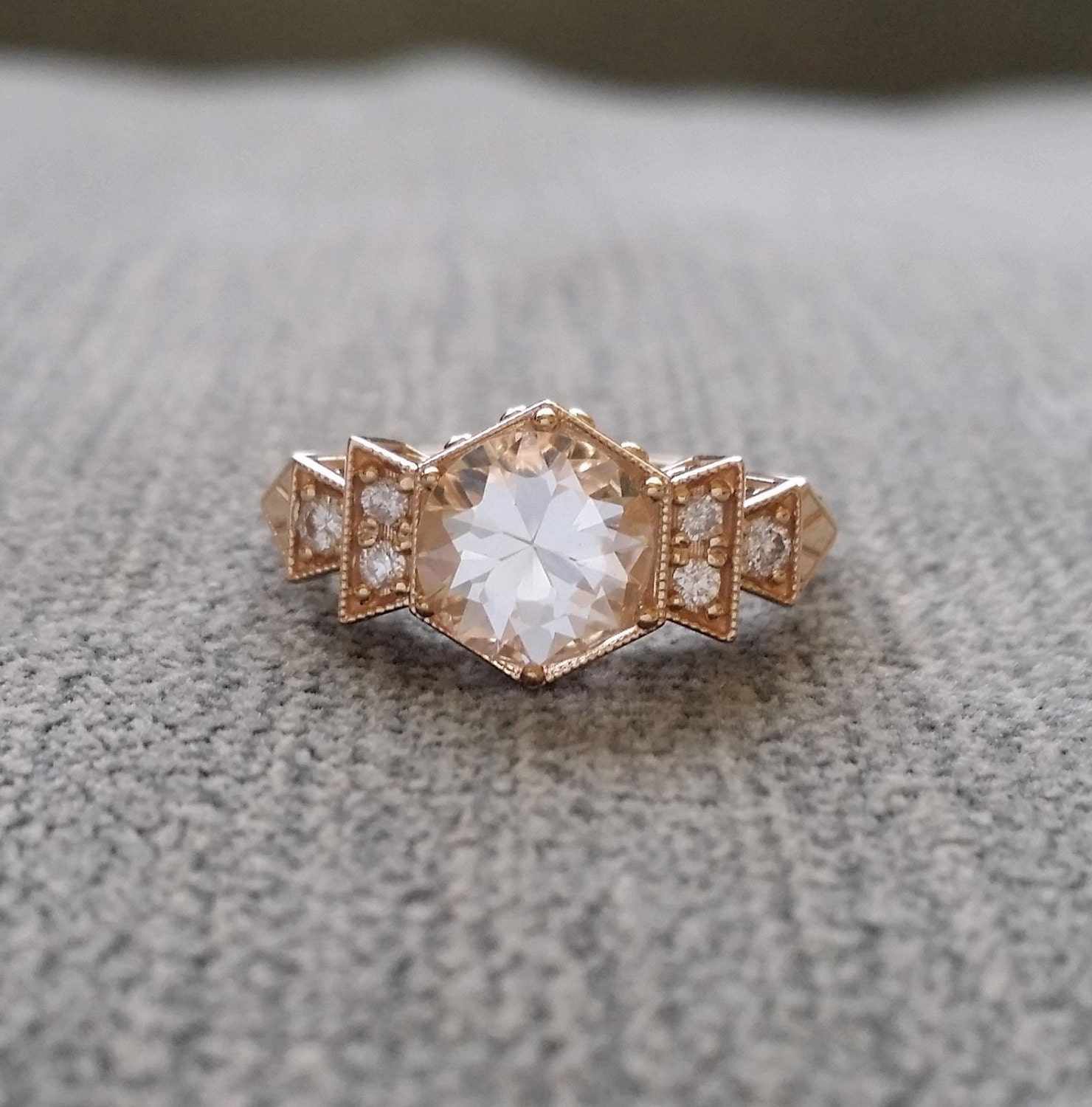 antique white sapphire engagement ring yellow gold