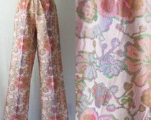 Tapestry Flared Pants High Waist 60s 70s Bellbottoms Wide Leg Trousers Floral Pants