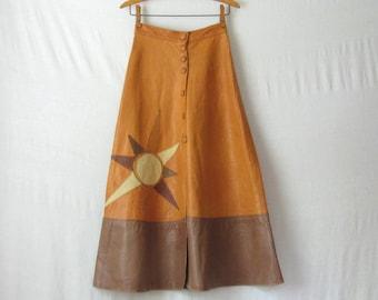 LAYAWAY / Leather Skirt 1970s Patchwork Skirt Sun Burst Hippie Skirt 70s Skirt