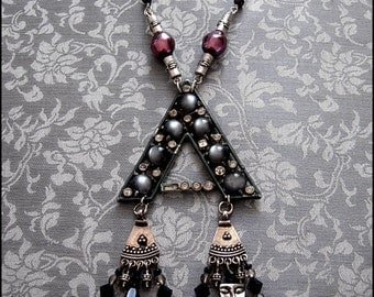 Moonglow Talisman Necklace by Kambriel in magical shades of jet black luminous grey and pearlescent purple - Ready to Ship!