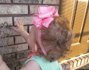 Double Ruffle Bows - Large Bow Baby Headband - Jumbo Hair Bows - Pick 4 - Girls Monogram Hairbow - Ruffle Baby Headband - Baby Girl Gift