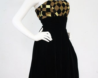 Victor Costa 1980's Vintage Gold Metallic and Black Velvet Full Skirt Short Evening Dress