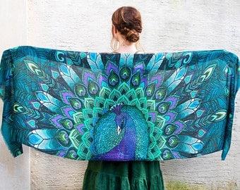Peacock Scarf, Blue Silk Scarf, Feather Scarf, Blue Scarf, Beach Bridesmaid Scarf, Silk Wrap, Wings Shawl, Silk Shawl, Peacock Wedding Scarf