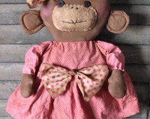 Lily Monkey EPATTERN...whimsical primitive country cloth doll craft digital download sewing pattern...PDF...1.99