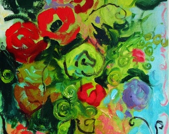 """SALE - Abstract Flower Painting... Original Oil Still Life on Box Canvas, Expressionist, Fine Art, Interior Design 12"""" x 24"""""""
