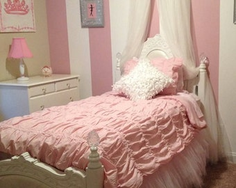 Ballet Upholstered Ballerina BeD CaNoPy CrIb Pink Satin Princess WITH WHITE SHEER Curtains included