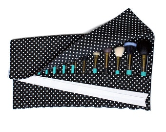 Large Makeup Brush Roll Holder Organizer, Polka Dot, Black/White - In Stock Ready To Ship