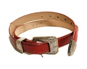 RESERVED!! - Vintage Western Belt, 90s Red Leather Belt, Braided Silver Ranger Buckle Set, L Waist 34 inches