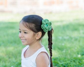 Olive Green Hair Clip Crochet Flower Hair Clip Olive Hair Clip Olive Barrette Green Barrette Flower Barrette Spring Hair Clip Summer Clip