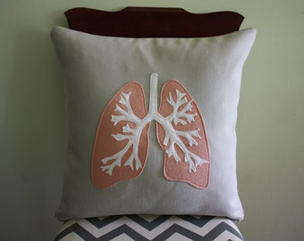 Anatomy Diagram Pillow - Lungs // Transplant Gift // Doctor Gift // Medical Student Gift // Breathe // Organ Transplant // Lung Cancer