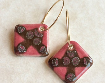Chocolate and Rose Porcelain Earrings