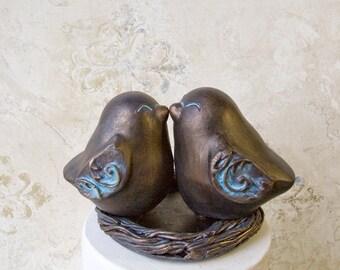 Bronze Colored Kissing Love Bird Cake Topper