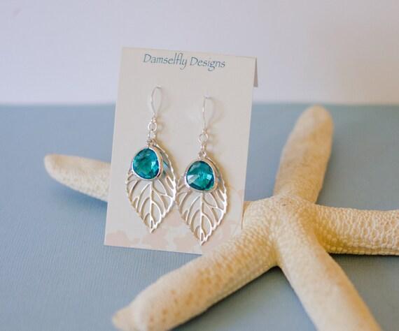 Drop earrings, Leaf, Aquamarine Glass Drop, teardrop, beach, nature, inspired, faceted, glass, charm, jewelry, Handmade in Santa Cruz