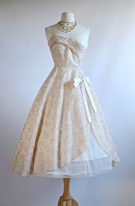 Xtabay rose waltz wedding dress 1950s style tea length for Antique rose wedding dress