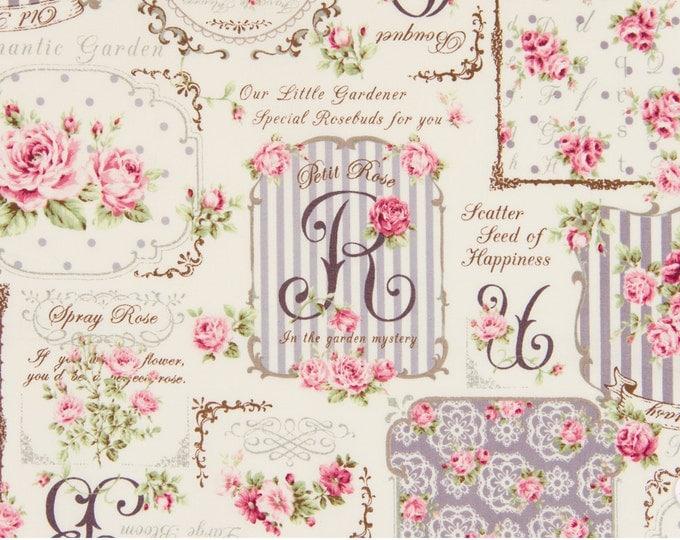Quilt Gate Rose Bouquet - Ruru Bouquet - Rose Frame QG222012D Lavender, 1 yard