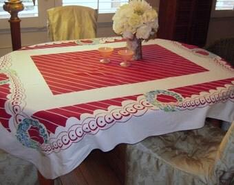 Vintage Tablecloth Burgundy Stripes & Floral Wreaths