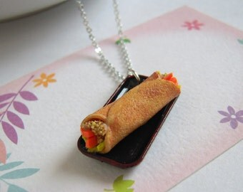 Cute Miniature Burrito Necklace, Food Jewelry, Fimo Necklace, Mini Taco Charm Silver Necklace, Miniature Food Necklace