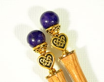 "Celtic Hair Sticks, Celtic Hair Jewelry, Purple Gold Bun Pin, Celtic Heart Jewelry, Baton de Cheveux, Pair of Hairsticks, - ""With the Heart"""