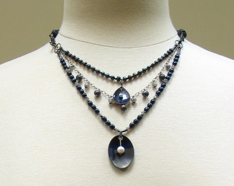 Dark Statement Necklace, Pearls and Gems, Multi Strand Pearls Artisan Enamel Pendants, Conceptual Art Jewelry, Navy Blue Necklace, Original