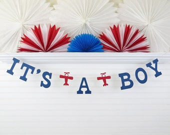 It's a Boy Airplane Banner - 5 Inch Letters with Airplane - Airplane Baby Shower Decor It's A Boy Banner Baby Banner Plane Its A Boy Garland