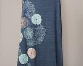 maxi skirt, long skirt, sea urchins and coral, marine life, aquatic