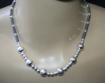 Sterling  Silver 925  Necklace / Choker With sterling silver  beads all around  ELEGANT STUNNING