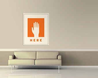 Large Wall Art, Retro Poster, Mid Century Modern, Abstract Art Print, Hand Poster