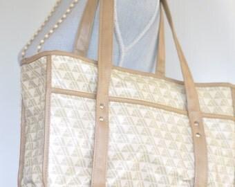 Vintage 80s PVC Carryall // Market Bag // Grocery Bag // Waterproof