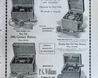 1900 Rare Antique Advertisement - Williams' Medical Batteries