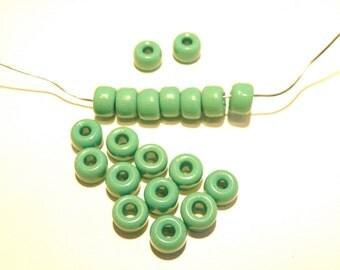 50% Off -- DESTASH -- 20 Dark Jadeite Green Opaque Pony Beads  - Lot HH
