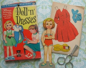 Uncut Vintage Doll 'n' Dresses Paper Doll with 30 pc Wardrobe & Safety Scissors 1959