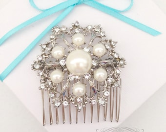 SALE Round Floral Hair Comb with Pearls and Rhinestones in Silver, Bridal Hair Comb, Wedding Accessory, Wedding Hair Comb
