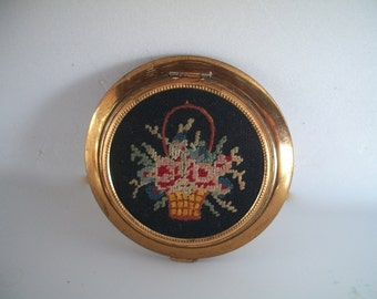 Vintage Compact For Powder 1950s  Made In U S A Needlepoint Floral Basket 3 & 1/4 X  1/4 Inches