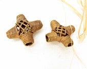 Vintage African Brass Beads 2 Metal Tribal Beads African Lost Wax Method Bead Necklace Bracelet Jewelry Supply Ghana #211