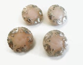 Blush Vintage Glass Buttons - 4 Antique 1940s Pink with Silver Leaf 3/4 inch 19mm for Jewelry Beads Sewing Knitting