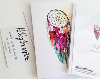 Greeting card of original Dreamcatcher illustration, by Holly Sharpe // watercolour
