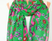 Women Scarf , Summer Scarf  gift for her  Green Scarf , Boho Scarf ,Fabric Scarf ,  Women fashion  Women  Accessories