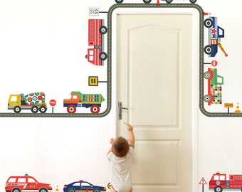 Emergency Vehicles & Terrific Trucks Wall Decals with Straight and Curved Gray Road, Removable and Reusable