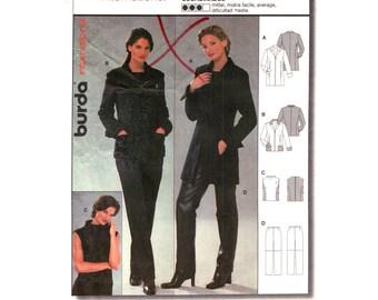 Womens Sewing Pattern Jacket Top Pants Burda 8846 Zipper Front Long Jacket, Pockets Sleeveless Top, Pants Trousers Size 10 to 20 Plus UNCUT