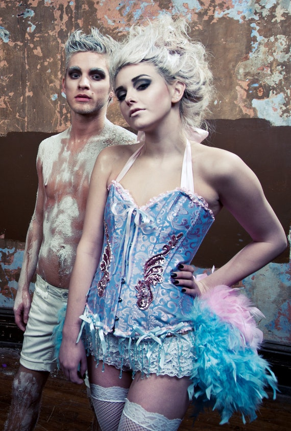 ALICE IN WONDERLAND Feather Burlesque Circus Costume Pink Blue Corset Cosplay Dress
