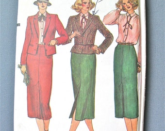 Uncut 1970s Vogue 7214 Misses' Jacket Skirt and Blouse Vintage Sewing Pattern   Bust 36 inches