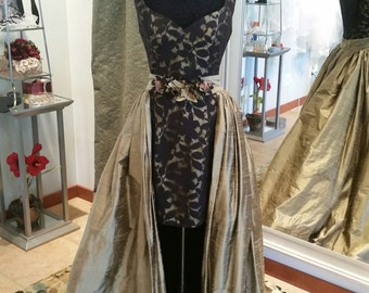 Black and Bronze Silk and Cotton Lace Wedding Dress Evening Gown Sample Sale