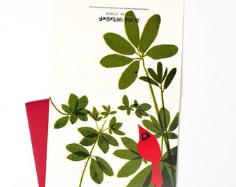 Cardinal Christmas Card, Thank You Note, Cardinal in Rhododendron Blank Greeting Card