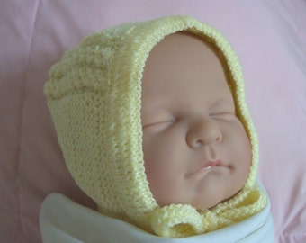 Custom handmade  knit  Princess Charlotte Inspired Pale Yellow Hat Bonnet Cap for baby Girl  Boy or reborn doll  -Cute baby gift-Photo prop