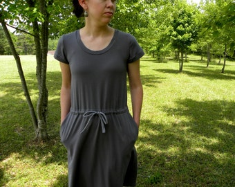 Womens Jersey Knit Cotton Pocket Dress Made in the USA - Handmade -Luana