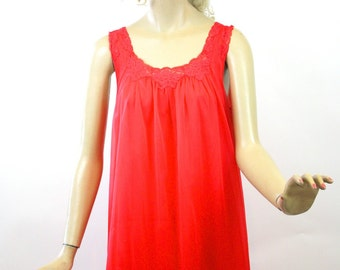 Vintage 60s Baby Doll Nightgown Red Sheer Chiffon & Nylon Short Gown by Lorraine size Medium