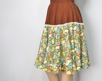 Vintage Floral Prairie Skirt Ruffle Full Skirt Handmade Square Dance Skirt Waist 30 Inches Size Medium