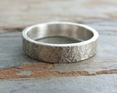 Rugged Stone Texture Wedding Band for Men or Women - Super Distressed Silver Stone Ring -  4mm, 5mm or 6mm Flat Band, Matte Sterling Silver