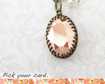 Vintage style Oval Rose Gold Swarovski Crystal brass necklace, Oval Stone pendant dainty vintage bridesmaid necklace, rustic countryside